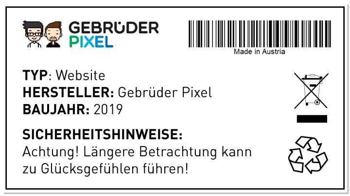 Typenschild der Gebrüder Pixel